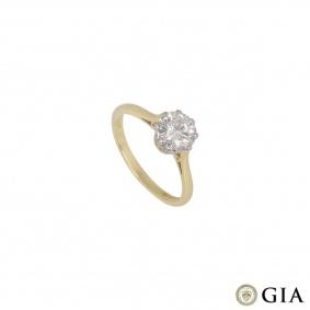 Yellow Gold Round Brilliant Cut Diamond Ring 1.05ct G/VS1